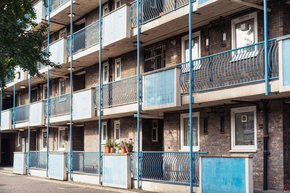 Flats in a social housing block in Hoxton, east