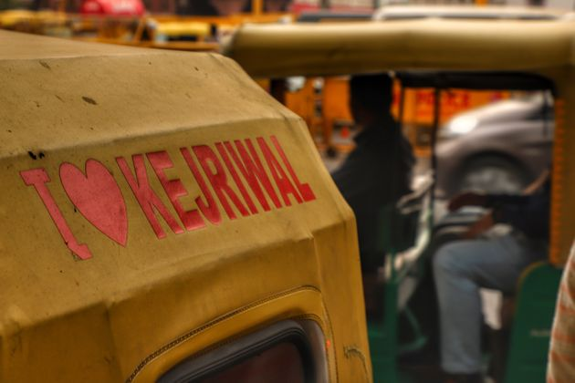 'I Love Kejriwal' sticker is pasted on an auto in New Delhi on 5 November