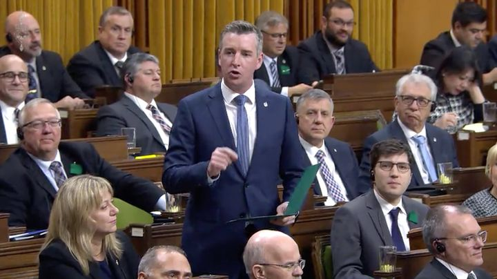 Conservative MP Michael Barrett asks a question in the House of Commons during question period on Jan. 27, 2020.