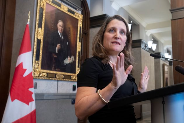 Deputy Prime Minister Chrystia Freeland speaks with the media about the USMCA trade agreement in the...