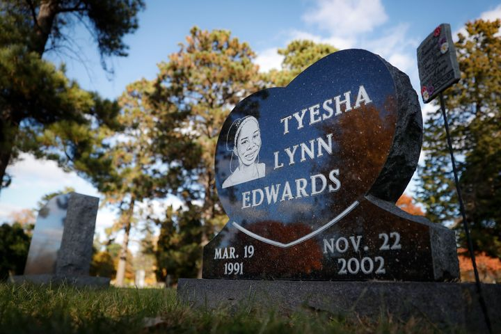 The gravestone of Tyesha Edwards, the victim of a 2002 shooting that resulted in the murder conviction Myon Burrell, rests at