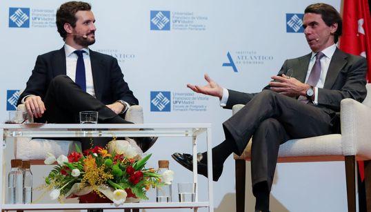 """Aznar alecciona a Casado: """"Debe confrontar con el Gobierno como si Vox no"""
