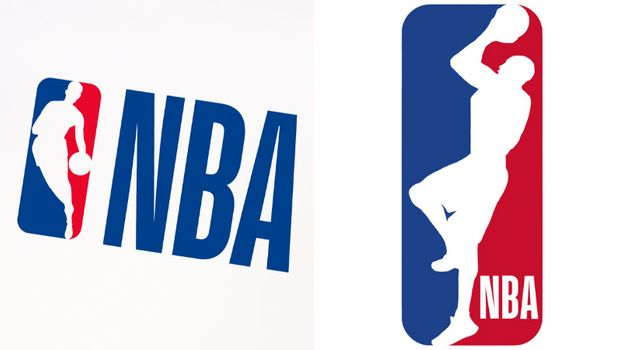 The current NBA logo, left, features former NBA player Jerry West's silhouette. On the right is a newly...