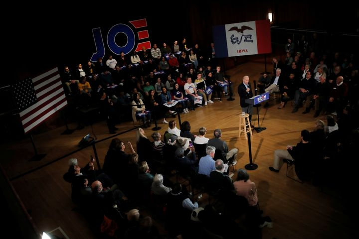 Vice President Joe Biden speaks at the University of Iowa on Monday night ahead of the all-important Democratic caucuses in t