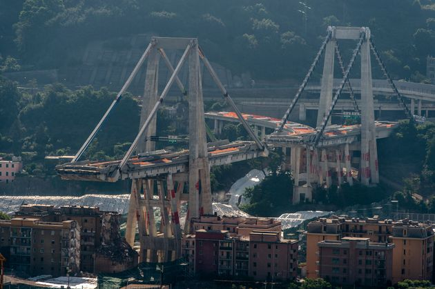 GENOA, ITALY - 2019/06/28: General view of Morandi bridge which collapsed on August 14, 2018 causing...