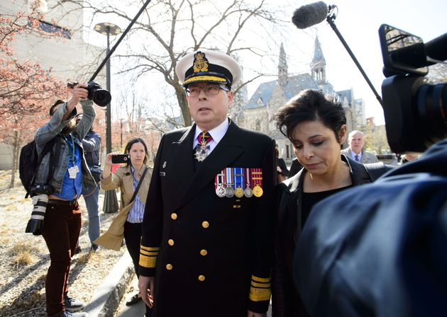 Retired Vice Admiral Mark Norman arrives to court with lawyer Marie Henein in Ottawa on May 8,