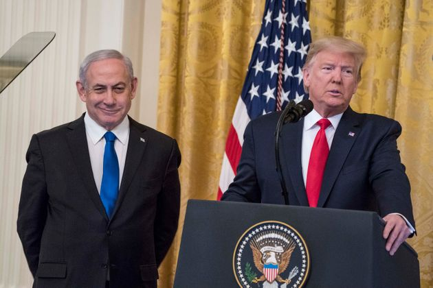 President Donald Trump and Israeli prime minister Benjamin Netanyahu speak during a joint statement...
