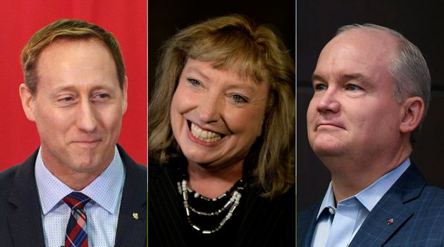 From left to right: Conservative leadership hopefuls Peter MacKays, Marilyn Gladu, Erin O'Toole have...