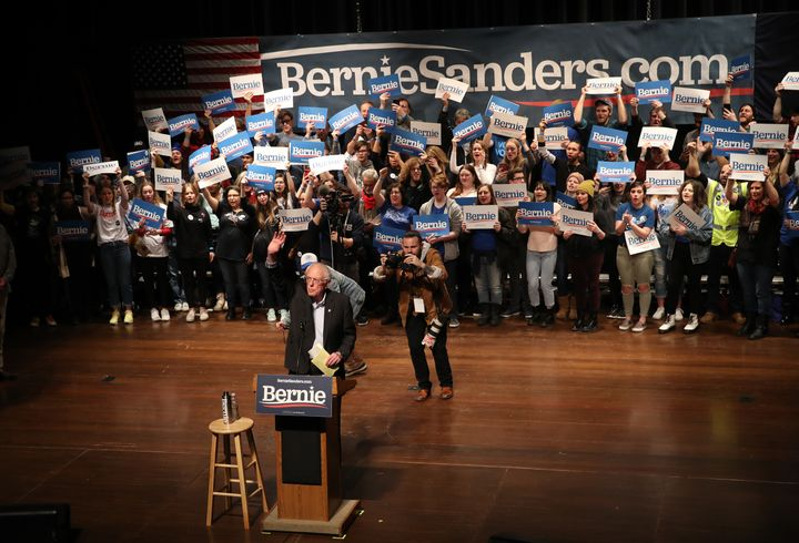 Democratic presidential candidate Sen. Bernie Sanders of Vermont speaks to Iowa voters at the Ames City Auditorium in Ames, I