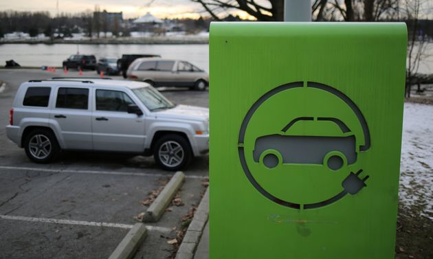 An electric car charging station is seen in Vancouver on Jan. 7,