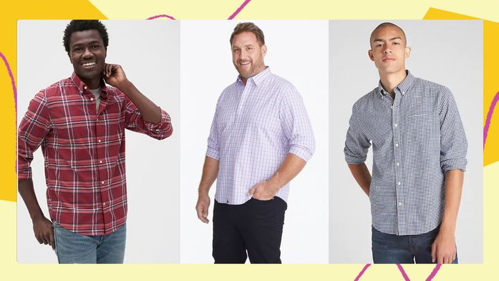 These button-downs are specifically hemmed to fall right on the hips so they can be worn untucked and still look tailored, but aren't too short that they'll show skin when you move.