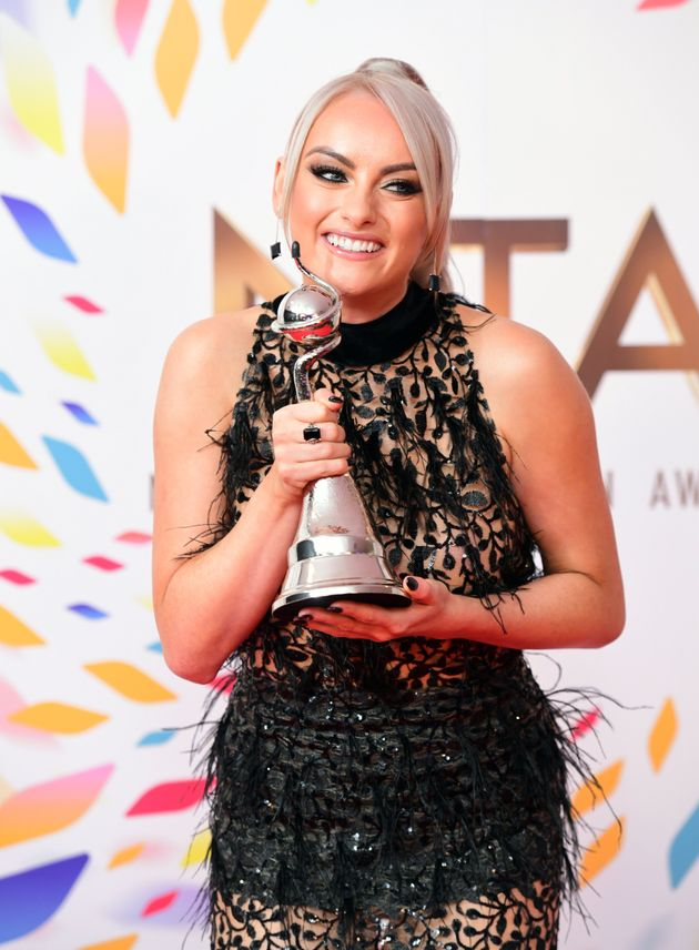 Katie McGlynn with the award for Best Serial Drama