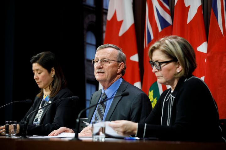 From left, top health officials Dr. Eileen de Villa, Dr. David Williams and Dr. Barbara Yaffe discuss the impact of the coronavirus in Ontario in January 2020.
