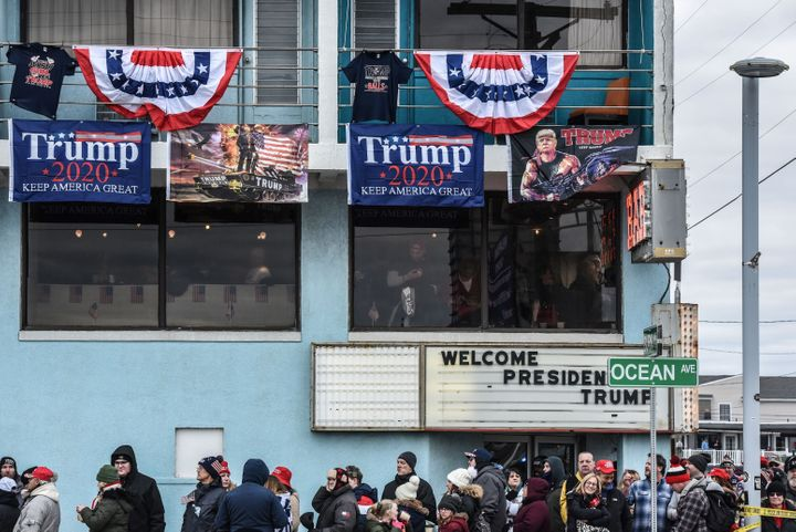 Supporters gather outside a Trump campaign rally in Wildwood, New Jersey, on Jan. 28, 2020.