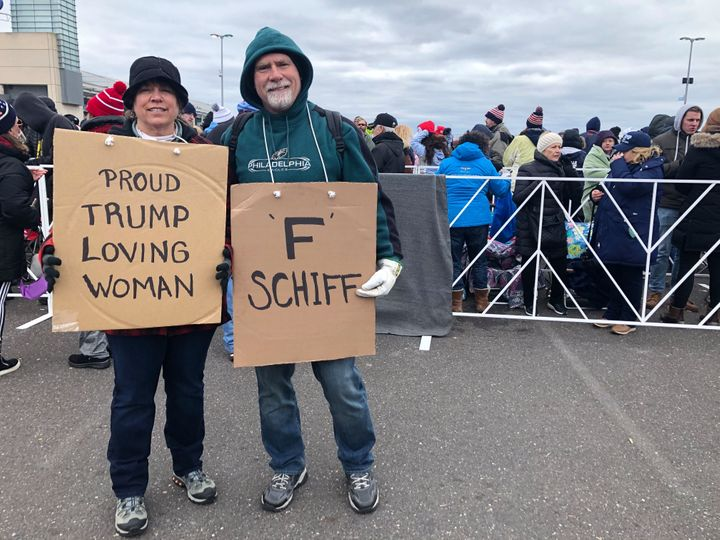 Stephanie and Jim Richardson attend the Trump campaign rally in Wildwood, New Jersey, on Jan. 28, 2020.