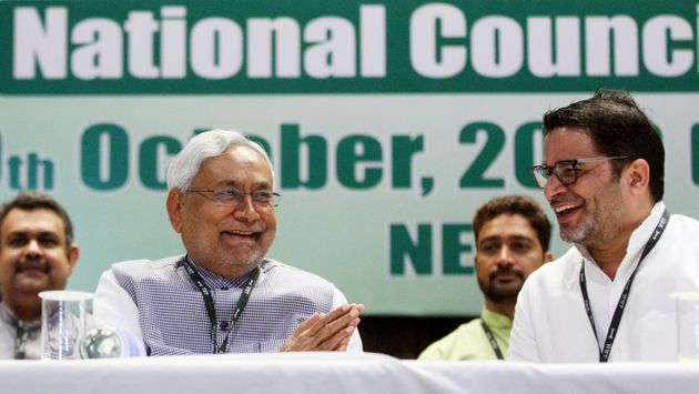 Bihar Chief Minister Nitish Kumar and Prashant Kishor attend the Janata Dal United (JDU)'s National Council...