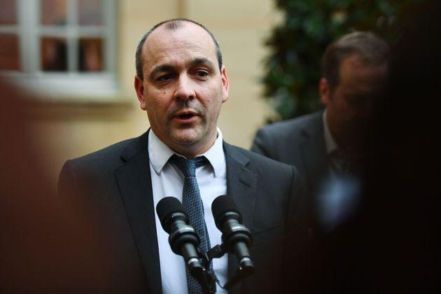 Le leader de la CFDT, Laurent Berger, devant l'Hôtel de Matignon le 10