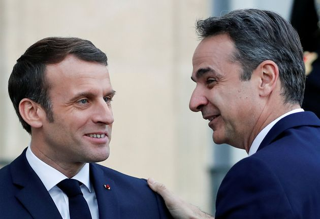 French President Emmanuel Macron welcomes Greek Prime Minister Kyriakos Mitsotakis at the Elysee Palace...