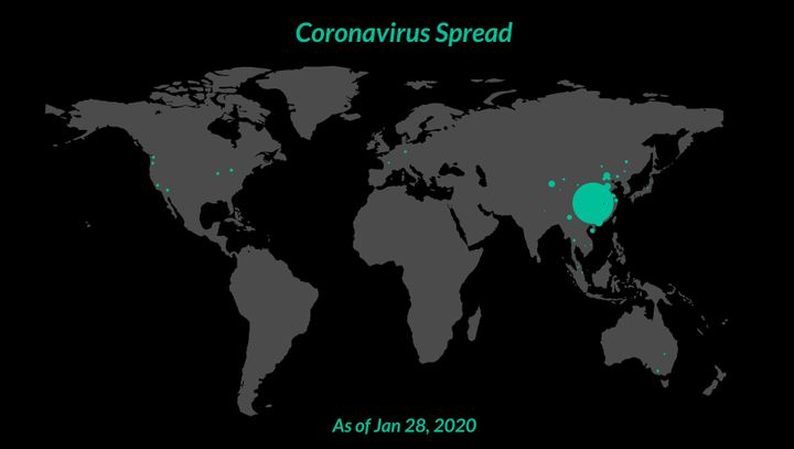 Global cases of coronavirus as of January 28, 2020. The majority are in Wuhan, represented by the biggest green circle - 6,061 cases