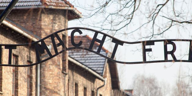 Museum of Holocaust Auschwitz Birkenau. The inscription above the main gate to concentration camp Auschwitz....