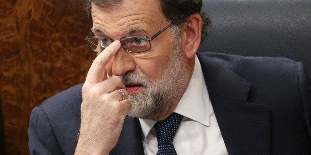 Spain's Prime Minister Mariano Rajoy attends a session of Parliament in Madrid, Spain, October 11, 2017....