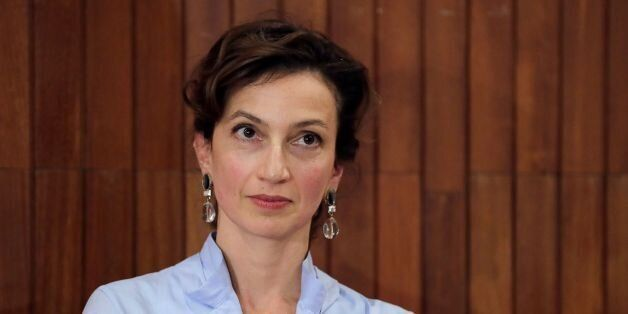 French former culture minister and newly elected head of UNESCO Audrey Azoulay looks on during a press...