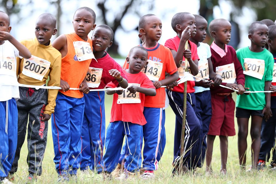 ELDORET, KENYA - JANUARY 26: Young runner line up ahead of their race during the 29th Discovery Cross...