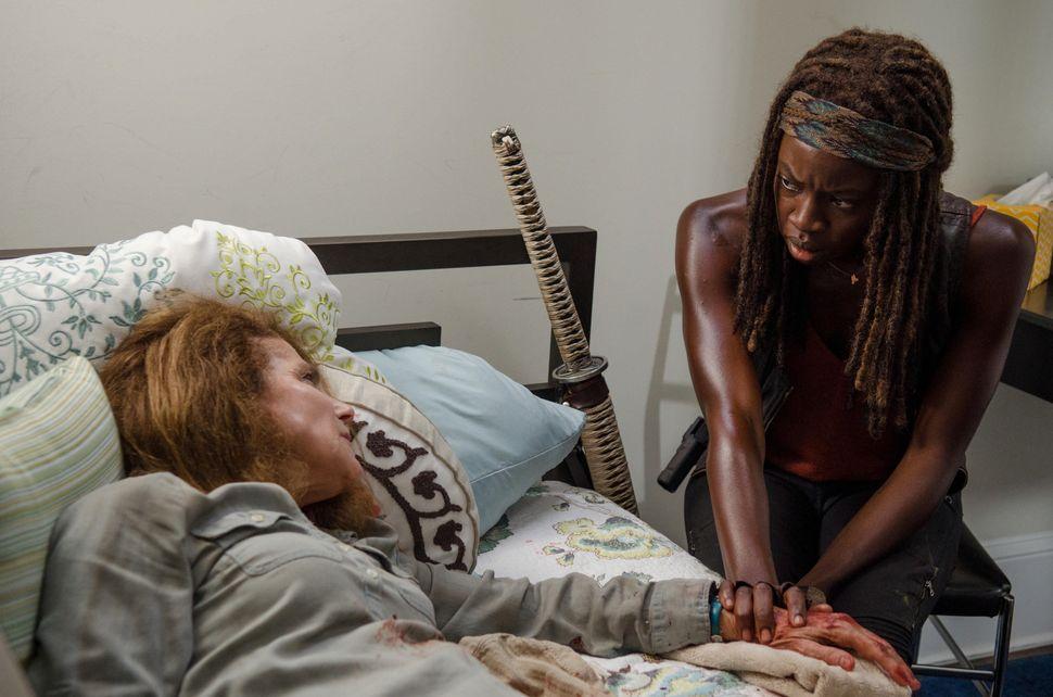 "Tovah Feldshuh as Deanna and Danai Gurira as Michonne in ""The Walking Dead"" Season 6, Episode 8 - Photo Credit: Gene Page/AM"