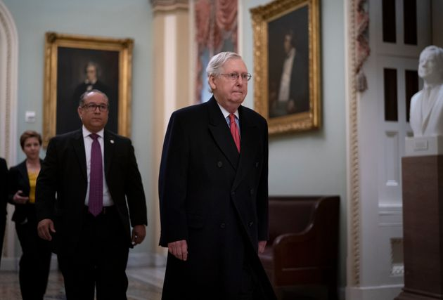 Senate Majority Leader Mitch McConnell arrives for the impeachment trial of President Donald Trump on...