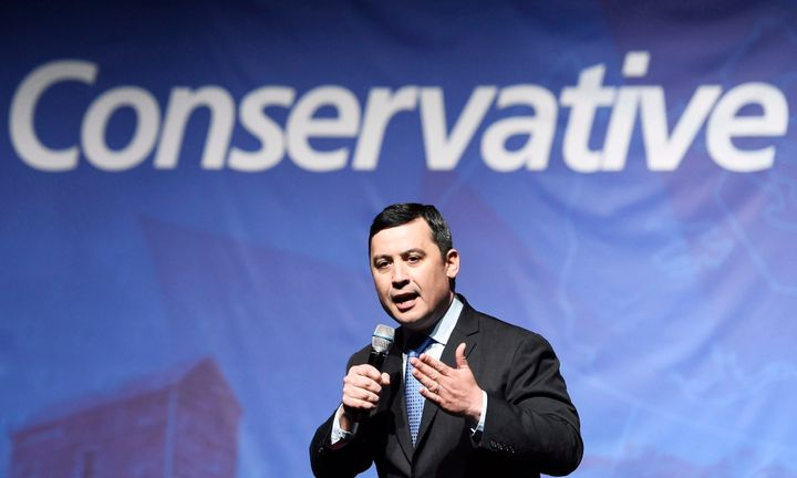 Michael Chong speaks during the Conservative Party of Canada leadership debate in Toronto on April 26, 2017.