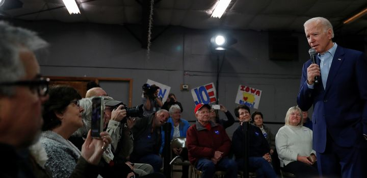 Former Vice President Joe Biden speaks at a town hall in Mason City, Iowa, where a voter said she hoped he would pick a woman