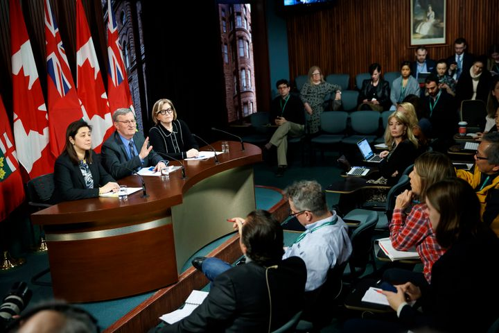 Health officials during a press briefing on the coronavirus at Queen's Park on Jan. 27, 2020, in Toronto.