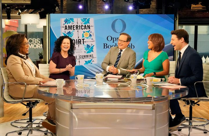 "Oprah Winfrey with author Jeanine Cummins, Gayle King, Anthony Mason and Tony Dokoupil  on ""CBS This Morning."""