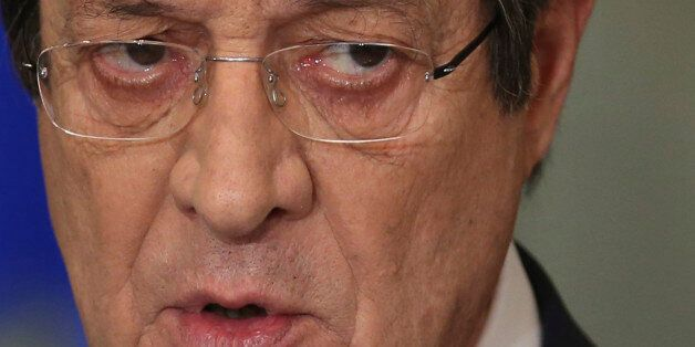 Cyprus President Nicos Anastasiades speaks during a nationally televised news conference at the Presidential...
