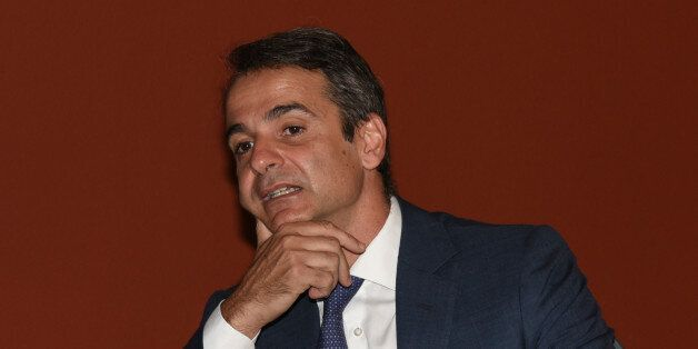 Kyriakos Mitsotakis, leader of the Nea Dimokratia attend at the presidential mansion in Athens on July...