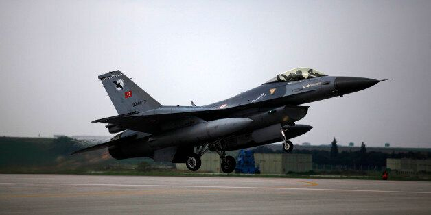 A Turkish Air Force F16 jet fighter takes off from an air base during a military exercise in Bandirma,...