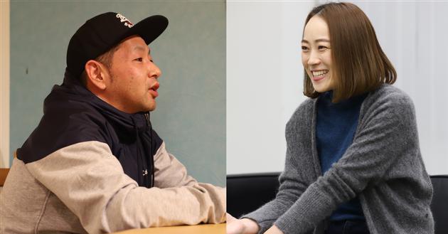 インタビューに答えるカツヒロさん(左)とアイコさん(右)