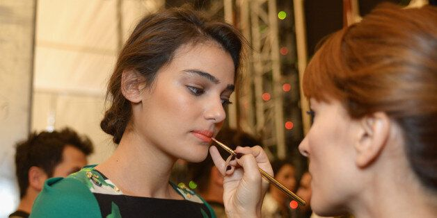 ISTANBUL, TURKEY - OCTOBER 07: Merve Buyuksarac is seen backstage at the Gizia show during Mercedes-Benz...
