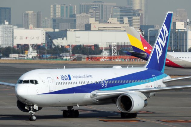 An All Nippon Airways Boeing 767-300 aircraft, operating on its second charter flight from the Chinese...
