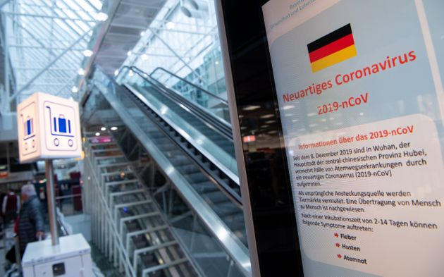 29 January 2020, Bavaria, Munich: Information about the corona virus can be seen at Munich Airport on...