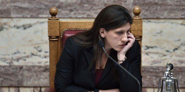 The president of the Greek Parliament, Zoi Konstantopoulou, attends on March 18, 2015 a parliament session...