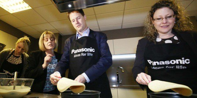 Liberal Democrat leader Nick Clegg with Sue O'Donnell (second left) and Jenny Willott (right) making...