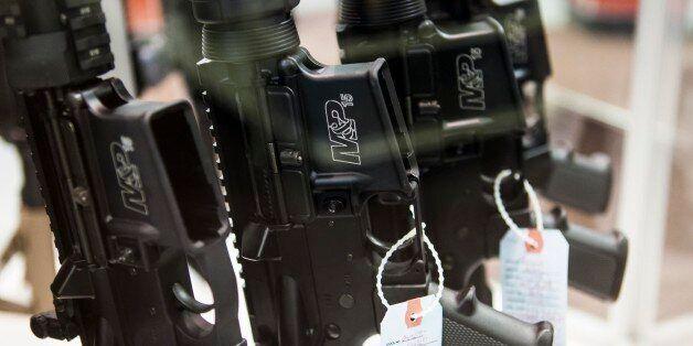 BRIDGETON, MO - NOVEMBER 16 : M&P15 rifles are seen at Metro Shooting Supplies on November 16, 2014 in...