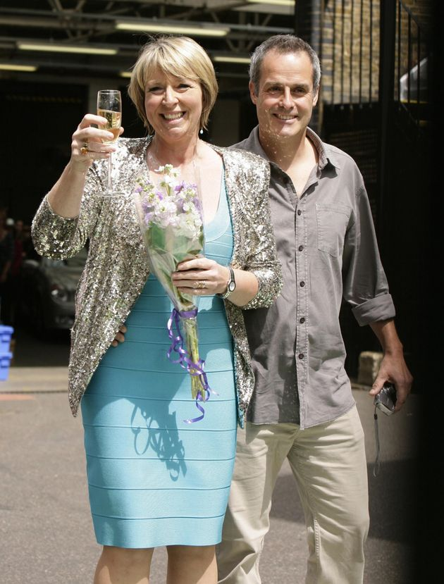 Fern Britton (left) and her husband Phil Vickery leaving the London Studios in central London, after...