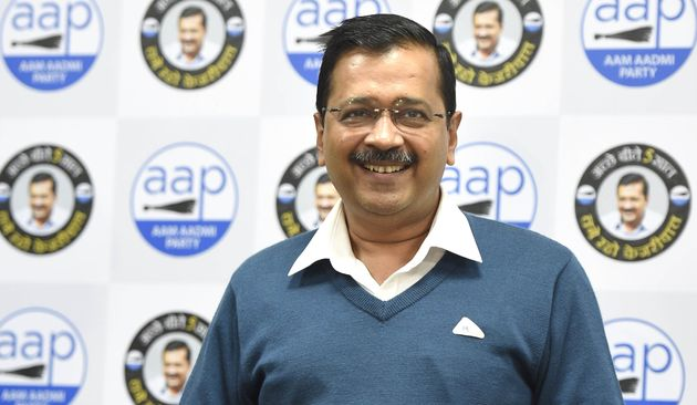 Delhi Chief Minister Arvind Kejriwal addresses a press conference at the AAP party office on January...