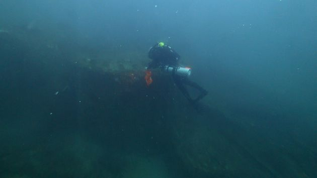 Diver Joe Citelli inspecting the wreck of the SS