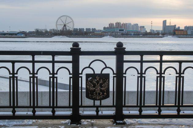 ÀBlagoveshchensk en Russie, une vue de la Chine frontalière, derrière le fleuve...