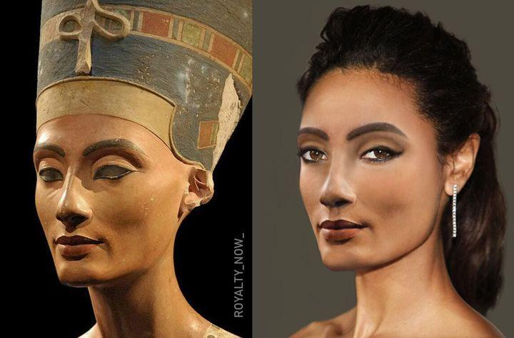 El busto de Nefertiti en elMuseo Egipcio de Berlín y la recreación de la reina egipcia hecha porBecca Saladin.