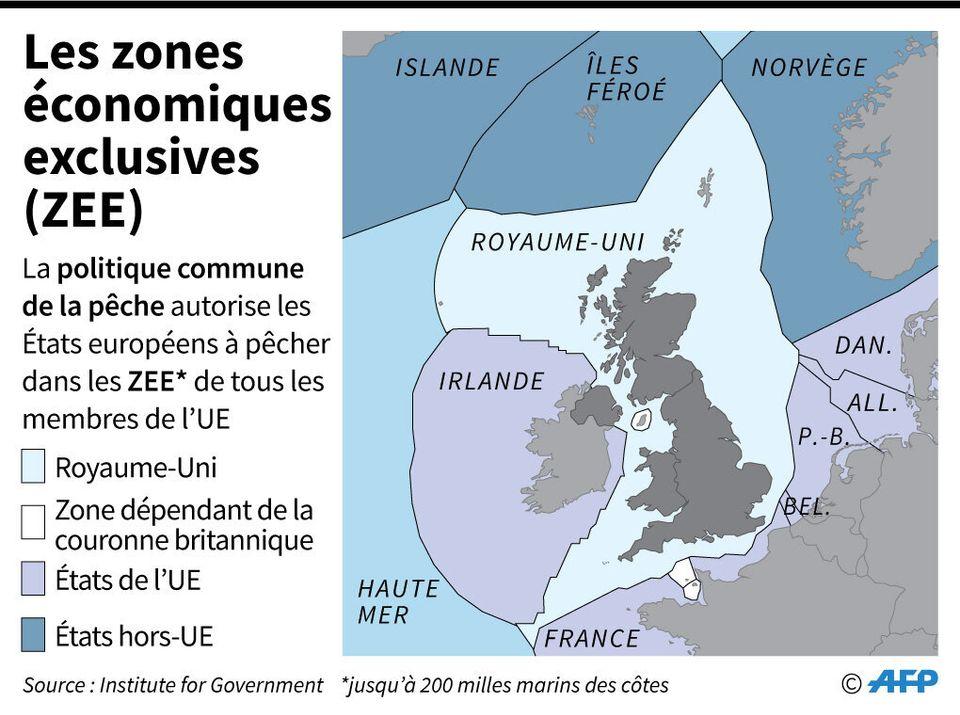 Carte des zones économiques exclusives du Royaume-Uni et des pays