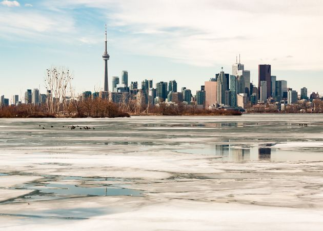 The Toronto skyline is seen here during the winter with melting ice covering Lake Ontario. Research suggests...
